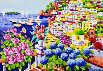Faccincani, Sogno tra i fiori di Positano, 70x100 cm, olio su tela, 2019