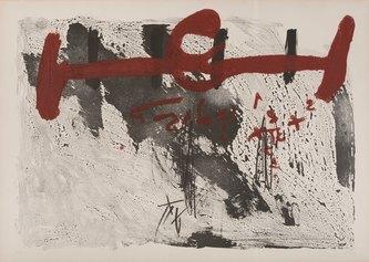 Antoni Tápies, Taches et chiffres, 1972, carborundum e litografia a colori, 750 X 1050 mm