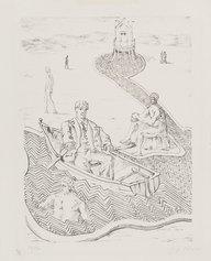 Giorgio De Chirico, La fuga inspiegabile, 1934, litografia,241 X 180 mm