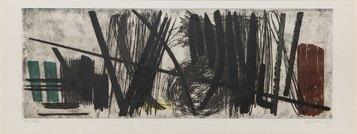 Hans Hartung, G 1953-4, 1953, acquaforte, acquatinta e bulino a colori, 223 X 654 mm