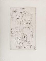 Pablo Picasso, Nature morte á la bouteille de Marc, 1911, puntasecca, 500 X 360 mm