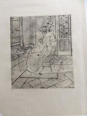 Umberto Boccioni, La madre che lavora all'uncinetto, 1907, acquaforte e puntasecca, 372 X 310 mm