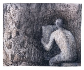 Man Drawing Rock Formation, 1982, HMF 82(437) charcoal, chinagraph, chalk, pencil on lithographic frottage - photo: Henry Moore Archive