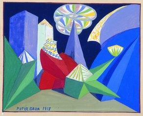 """Giacomo Balla, Bozzetto per il balletto di sole luci """"Feu d'Artifice"""", 1917, Milano, Museo Teatrale alla Scala© Giacomo Balla, by SIAE 2021"""
