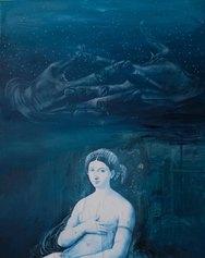 Giuseppe Ciracì _Tra le mani custodiva le stelle_ tecnica mista su tela - cm 50 x 40