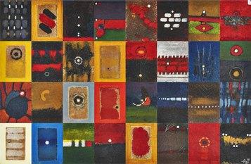 ICONARIO DI LANGHIRANO 95 95_Icone, Polittico (opera composta da 32 cartoni telati sabbiati di 33 x 25 cm) 1995_Industrial paint su cartone telato sabbiato, 132 x 200 cm_Centro Culturale di Langhirano