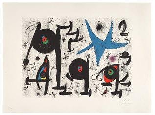 Joan Mirò, Homenatge a Joan Prats n 9, litografia a colori su carta a mano Guarro, 1971