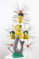 John Goba, 2010, Untitled 2010, acrlico su legno, spine di porcospino, cm 116 x 50 x 30.©The Estate of John Goba; Photo Credits: Alessandro Nassiri/Courtesy Glenda Cinquegrana Art Consulting