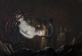 Alessandro Sicioldr - L'Estrazione, 2020, Olio su lino, 130 x 190 cm