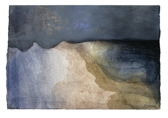 Mountains and Dark Sky, 1982, HMF 82(308) pastel (washed), charcoal, watercolour - photo: Henry Moore Archive