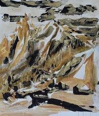 Luigi Stoisa, Paesaggio mutevole, 1985-2020, pittura ad olio e terra su catrame su tela