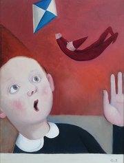 Marta Czok - Flying gnome - olio su tela cm 40x30