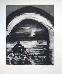 Michael Mazur, Canto III i – Caronte, acquaforte e acquatinta, 1996, 661x498 mm, inv. 47957-3C9537