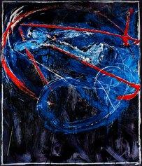 Mario Schifano, Navigatore notturno, 120x100 cm, serigrafia a smalto materica, 1988