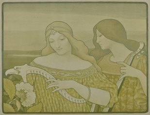Paul Emile Berthon, concerto mistico, 1901, litografia a colori
