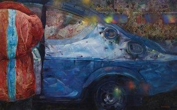 Renzo Vespignani - Incontri a Locust Point (1993) - olio su tela cm. 93x145 - Collezione Galleria Edarcom Europa