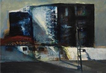Renzo Vespignani - Periferia (1964) - olio su tela cm. 70x100 - Collezione Galleria Edarcom Europa