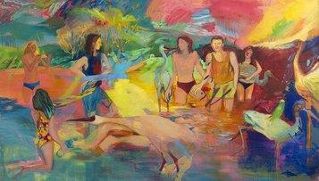 Francesca Banchelli, Romance, 2016. Olio e acrilico su lino, 250x150cm (Ex Fonderia d'Arte Luigi Tommasi, Via Marconi 48)