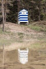 Giacomo Savio, Blu delle Dolomiti, 2021, installazione ambientale, location Tru di Lêc.
