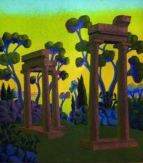 Salvo, Paesaggio con rovine, 1984, olio su tela, 224 x 198 cm, Collezione Giovanni Michelagnoli, Venezia , Courtesy Archivio Salvo, Cameraphoto Arte, Venezia