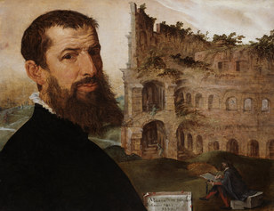 Maerten van Heemskerck, Self-Portrait with the Colosseum, Rome, 1533, The Fitzwilliam Museum, Cambridge