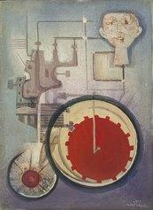 Simbolismo meccanico con figura, 1972, 50x70 cm, olio su tela, Collezione privata