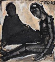 TITO - Deposizione, 1963, cm 74x40, olio su carta intelata