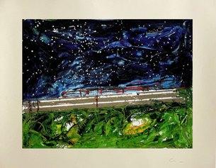 Mario Schifano, Treno Giapponese, 120x100 cm, serigrafia a smalto materica, 1989