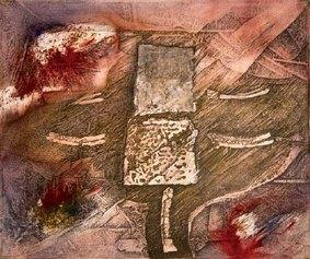 Piero Conestabo - Teatro di Lubiana,pigmento, catrame e matita su tela, 50x60 cm 2015