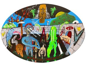 Tommaso Buldini, Bara, 2021, acrilici su carta telata,  50x70 cm. Courtesy RIZOMIarte