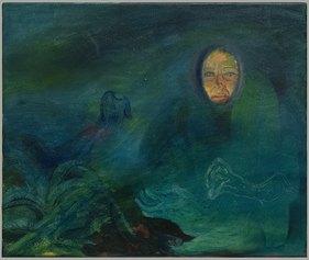 Francesca Banchelli, Underwaterlove, 2021, Olio e acrilico su cotone, 55 x 46 cm (Project room, Via Garibaldi 8)