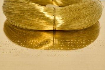 Alberto Garutti, 2021, 2021. Brass wire ø 19 cm, brass shelf 18x35x31 cm