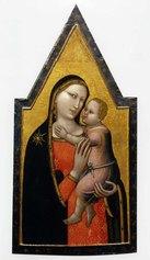 Allegretto Nuzi, Madonna col Bambino e Imago Pietatis, tempera su tavola. Dittico diviso tra collezione privata e Pesaro, Musei civici