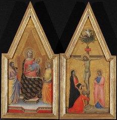Allegretto Nuzi, Madonna col Bambino in trono tra San Bartolomeo e Santa Caterina, Crocifissione, tempera su tavola. Berlino, Staatliche Museen, Gemäldegalerie