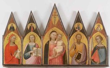 Allegretto Nuzi: Pentittico Madonna col bambino, Santa Maria Maddalena, San Giovanni Evangelista, San Venanzio