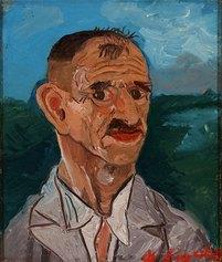 Antonio Ligabue, Autoritratto, s.d. (1940-1942), olio su tavola di faesite, cm 25,5x20,5
