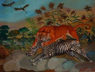 Antonio Ligabue, Leonessa con zebra, s.d. (1958-1959), olio su tavola di faesite, cm 60,3x78,6