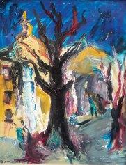 Bernard Damiano, Rue de Rivoli (Nizza) Olio su tavola cm 56x66