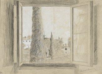 Umberto Boccioni: Finestra, 1904-1906. Matita e biacca su carta, 210 x 280 mm. Collezione privata