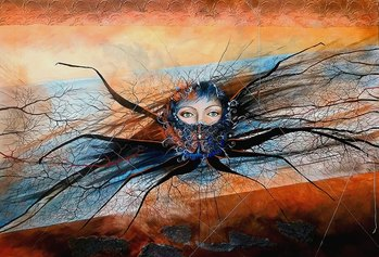 Leda Tagliavini, Aracne, 2021, tecnica mista su tela, cm 80x100