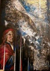 Leda Tagliavini, Dante, 2021, tecnica mista su tela, cm 100x80