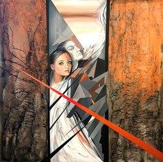 Leda Tagliavini, Paolo e Francesca, 2021, acrilico su tela, cm 100x100