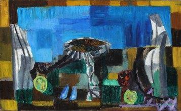 """Natura morta (Senza titolo) (1952) olio su tela cm 52 x 83 Firmato in basso a destra """"cassinari"""" Courtesy Piacenza, Galleria Mazzoni"""