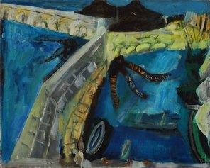 """Porto di Antibes (1950) olio su tela cm 60 x 75 Firmato in basso a destra """"cassinari"""" Piacenza, collezione privata"""