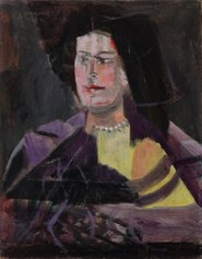 """Ritratto di giovane donna (Ritratto di donna) (1949) olio su tela cm 75 x 60 Firmato e datato in basso a destra """"cassinari 49"""" Piacenza, collezione privata"""