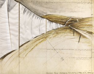 Christo, Running Fence, 1975, tecnica mista e tessuto su cartone, cm 56x71