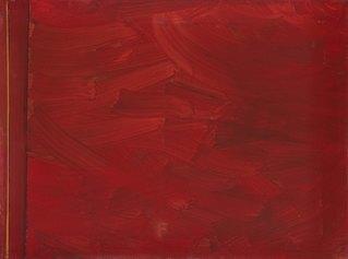Cosmocromie, Il rosso gitano, 2000, industial paint su tela, 75x100 cm