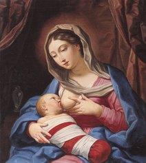Elisabetta Sirani, La Madonna che allatta il Bambino, olio su tela, 76 x 68 cm, Modena, firmato e datato, Collezione BPER Banca