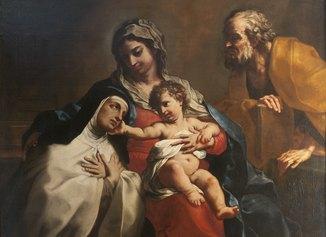Elisabetta Sirani, Sacra Famiglia con Santa Teresa, olio su tela, 122 x 161, firmato e datato, Collezione privata, courtesy Cantore Galleria Antiquaria