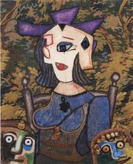 Enrico Baj, La moglie di Picasso, 1984, acrilici e collage su tavola, 93 x 73, Collezione Merlini